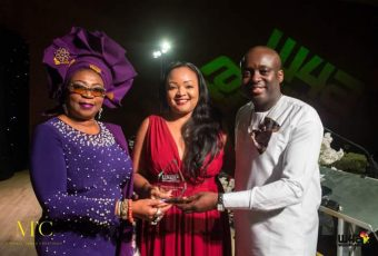 Elizabeth (Lizz) Ntonjira accepting the Best Woman in Tech Award during the Women4Africa Awards