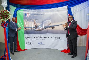 The unveiling of the Global CEO Banner during the launch of the Global CEO Africa Program.