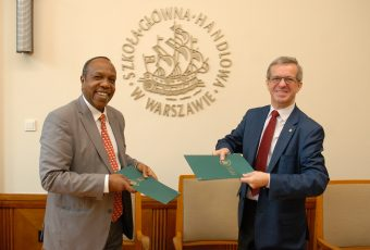 Dr. George Njenga, Dean Strathmore Business School, signs MoU with Warsaw School of Economics